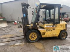 8,000 LB. CPAACITY CATERPILLAR DP40 DIESEL PNEUMATIC TIRE LIFT TRUCK; S/N 3CM00427, 2-STAGE MAST,