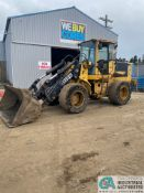 """JOHN DEERE TC54H SOLID RUBBER TIRE WHEEL LOADER, 20,725 HOURS; ID# DWTC54H577835, WITH 98"""" 3 YARD"""