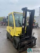 HYSTER MODEL H70FT 6,000 LB. CAPACITY PNEUMATIC TIRE FORKFLIFT; S/N L177V03544G, FORK POSITIONING,