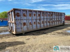 OPEN TOP STEEL CONSTRUCTED ROLLOFF CONTAINER, APPROX. 32' ONG X 7' HIGH X 8' WIDE
