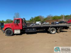 1995 INTERNATIONAL MODEL 4700 4X2 ROLLBACK, 22' STEEL BED, RAMSEY CABLE WINCH, 297,160 MILES, MANUAL