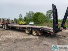 2003 CHEROKEE TWIN AXLE DROP DECK TRAILER WITH HYDRAULIC RAMPS, 25' WOOD DECK, 5' DOVETAIL, 8' TOP