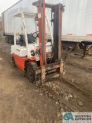5,000 LB. DATSUN LP GAS SOLID PNEUMATIC TIRE LIFT TRUCK; S/N PF02-024334, 2-STAGE MAST, 267 HOURS