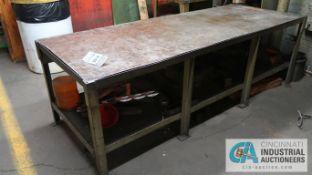 (LOT) HEAVY DUTY STEEL TABLES & SHELF
