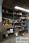 (LOT) CONTENTS OF SHELVING INCLUDING HARDWARE, WHEELS, MOTORS, MACHINE PARTS