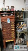 (LOT) 12-DRAWER LAWSON PRODUCTS CABINET W/ MISC. HARDWARE, (2) MULTI-DRAWER CABINETS W/ HARDWARE