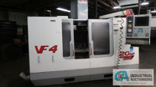 "HAAS MODEL VF-4B CNC VERTICAL MACHINING CENTER; S/N 27351, 20-HP VECTOR DRIVE, 18"" x 52"" TABLE (12/"