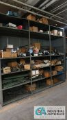 (LOT) CONTENTS OF SHELVES INCLUDING MACHINE PARTS, HARDWARE, MOTORS & PULLEYS