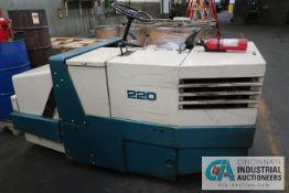 TENNANT MODEL 220 LP GAS SIT DOWN SWEEPER; S/N 2201414, HOURS: 1,338