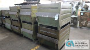 """39"""" X 31"""" X 30"""" STACKABLE CORRUGATED STEEL BINS W/ END DUMPERS"""