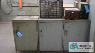 (LOT) BENCH & (8) CABINETS W/ MISC. TOOLING & HARDWARE