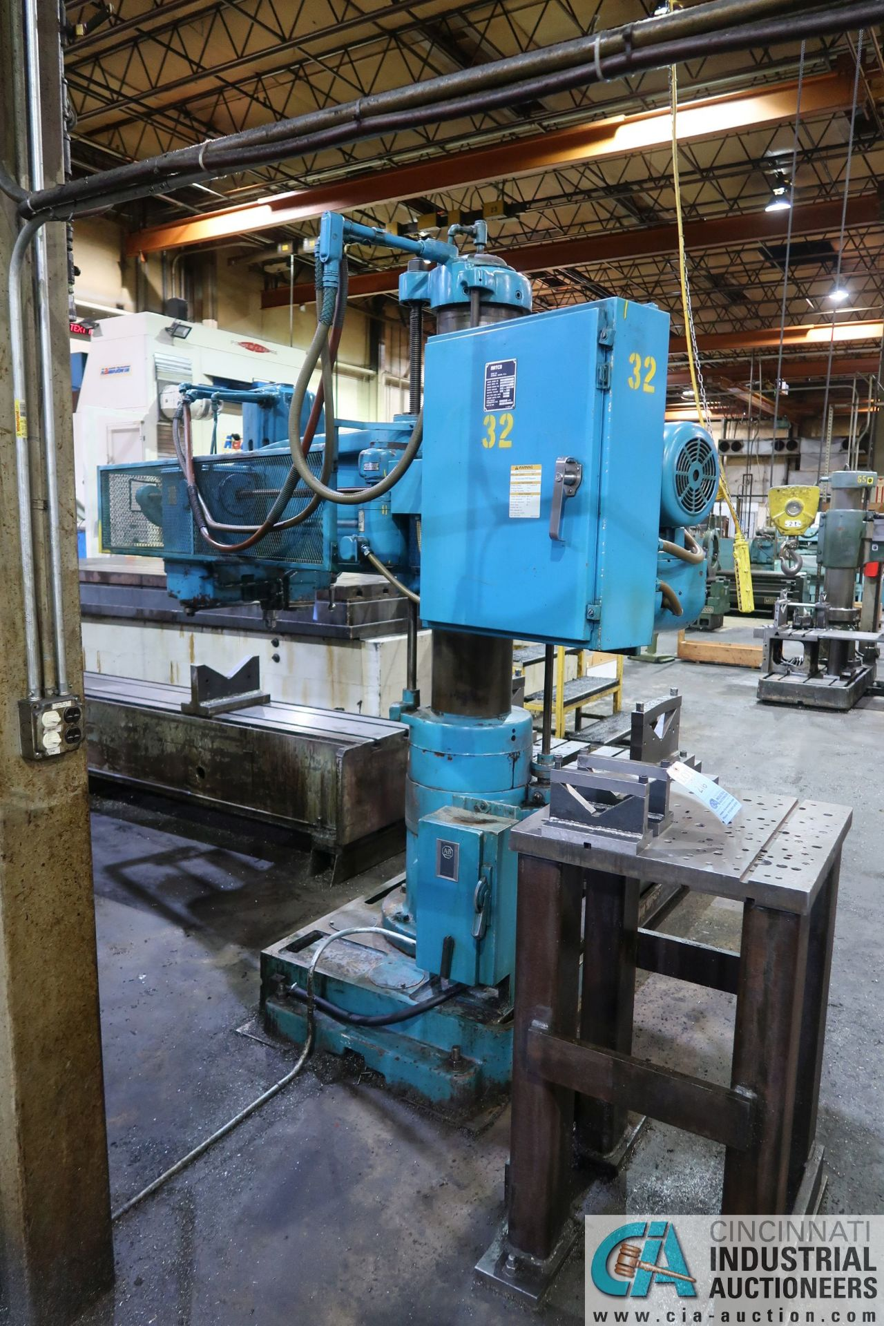 "5' ARM X 11"" COLUMN CARLTON RADIAL ARM DRILL; S/N 4434, WITH (2) 18"" X 28"" X 17"" HIGH T-SLOTTED - Image 3 of 13"
