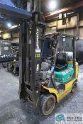 5,000 LB. KOMATSU MODEL FG255 LP GAS SOLID TIRE THREE-STAGE MAST LIFT TRUCK; S/N 580419A,