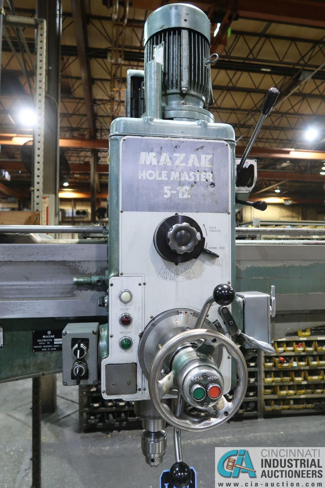 """5' ARM X 11"""" COLUMN MAZAK MODEL HOLE-MASTER 512 RADIAL ARM DRILL; S/N 77058L, WITH 20"""" X 24"""" X 16"""" - Image 6 of 12"""