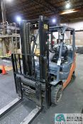 6,500 LB. TOYOTA MODEL 8FGCU32 LP GAS SOLID TIRE TWO-STAGE LIFT TRUCK; S/N 65675, 1,991 HOURS