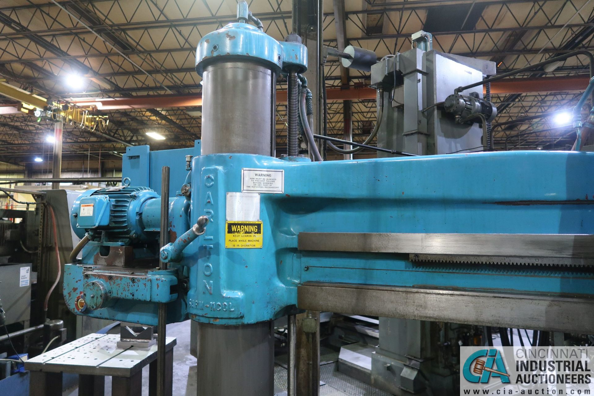 "5' ARM X 11"" COLUMN CARLTON RADIAL ARM DRILL; S/N 4434, WITH (2) 18"" X 28"" X 17"" HIGH T-SLOTTED - Image 8 of 13"
