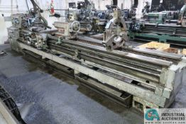 "24"" X 160"" MAZAK MODEL 24-160 HEAVY DUTY GEARED HEAD ENGINE LATHE; S/N 43725W, 18"" FOUR-JAW CHUCK,"