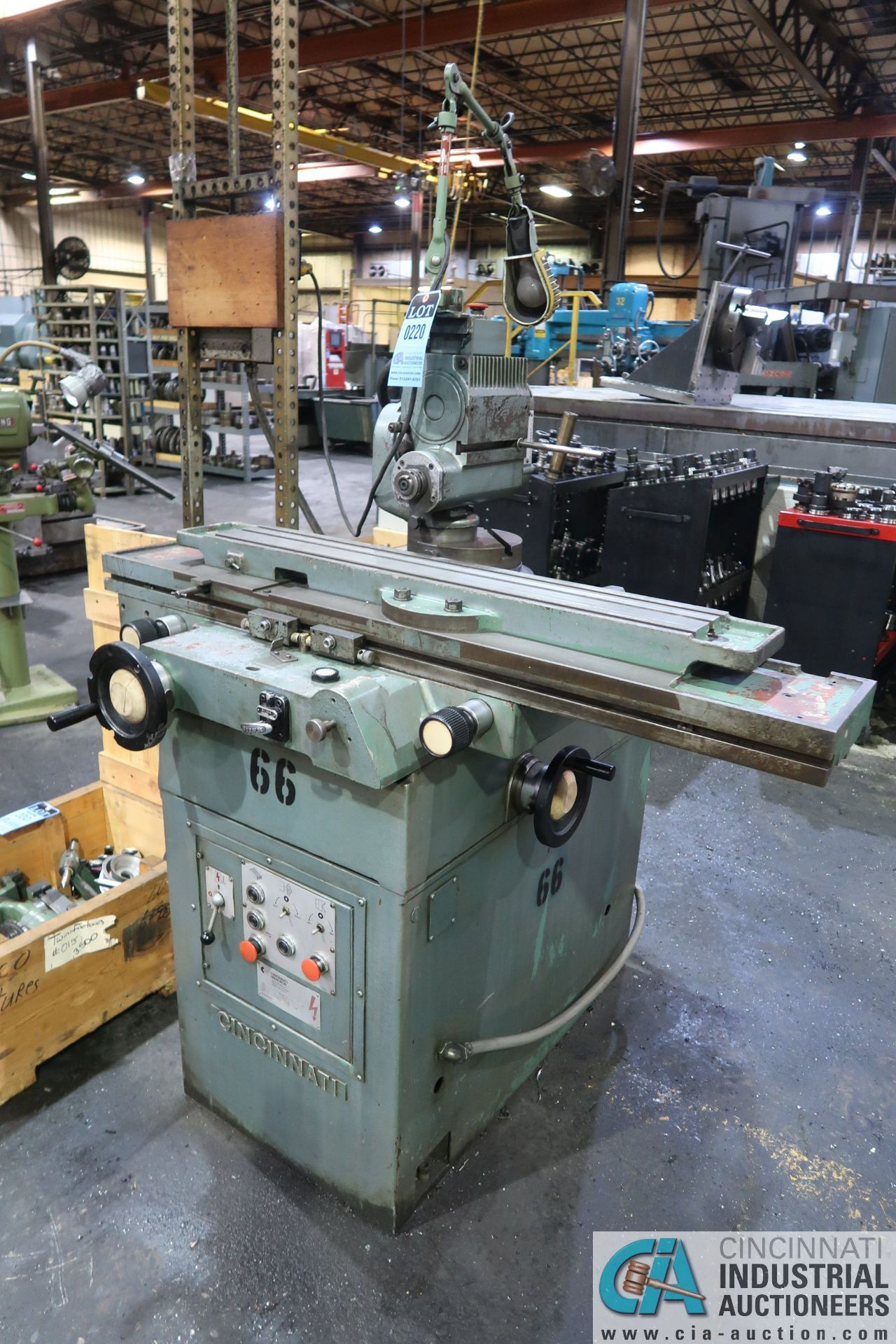 CINCINNATI TYPE MT TOOL GRINDER; S/N 1D2F1ABF-15, WITH (1) WOOD CRATE MISCELLANEOUS FIXTURES (NEW - Image 2 of 11