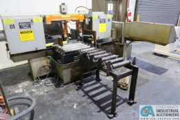"HEM MODEL H140M HORIZONTAL BAND SAW; S/N 351491, WITH 16"" X 30' LONG THRU WALL ROLLER CONVEYOR AND"