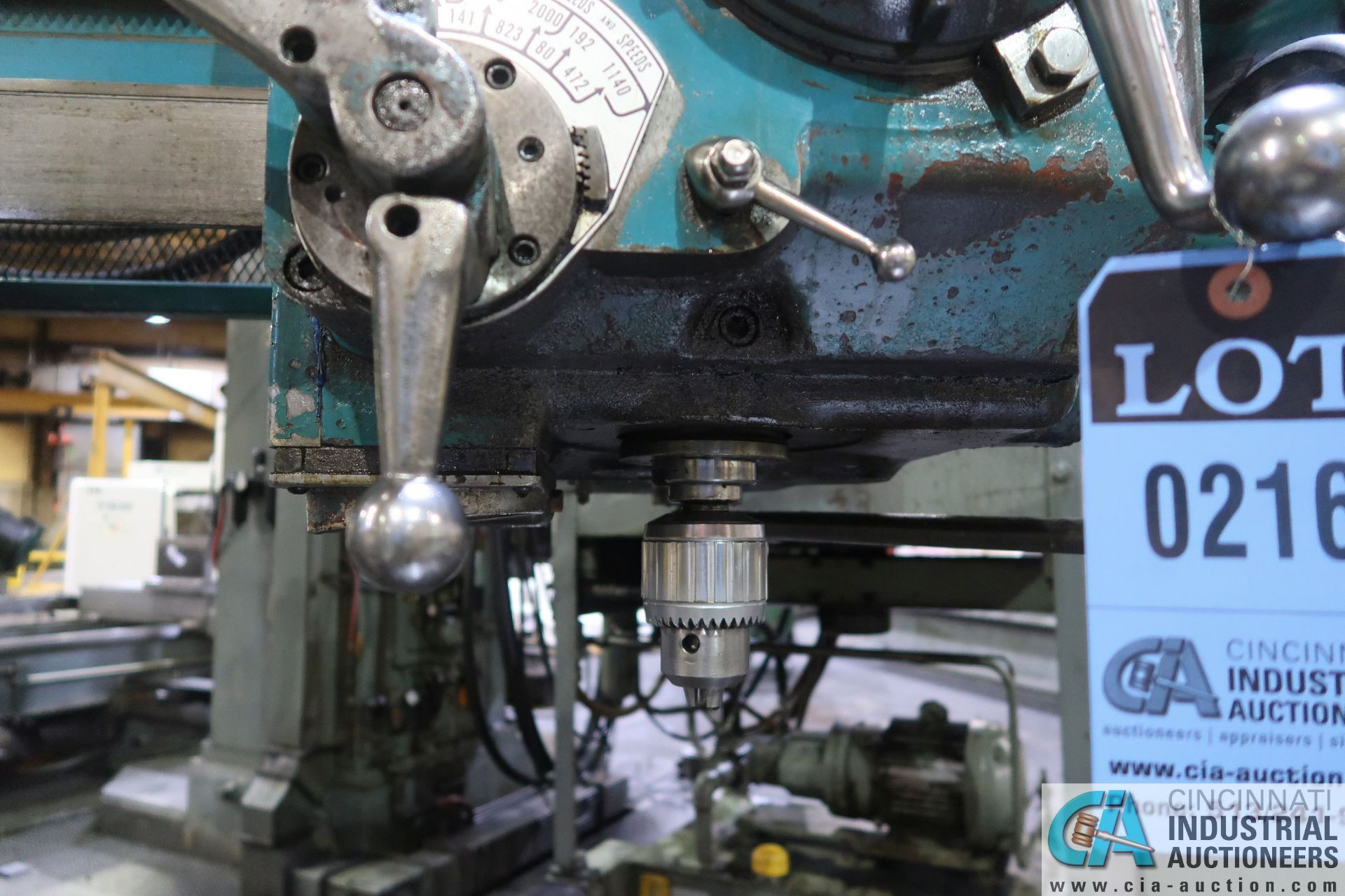 "5' ARM X 11"" COLUMN CARLTON RADIAL ARM DRILL; S/N 4434, WITH (2) 18"" X 28"" X 17"" HIGH T-SLOTTED - Image 7 of 13"