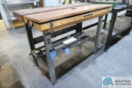 """30"""" X 48"""" ULINE ADJUSTABLE HEIGHT STEEL FRAME MAPLE TOP WORKBENCH **DELAY REMOVAL**"""
