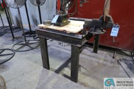 "52"" X 37"" X 36"" HIGH HEAVY DUTY STEEL WELDING TABLE WITH MOUNTED 4"" BENCH VISE"