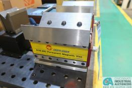 EARTH-CHAIN MODEL ECB-210 PERMANENT MAGNETIC VISE; S/N 2104821, WITH INDUCTION ANGLED SOFT BLOCKS