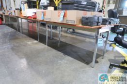 """(3) 24"""" X 60"""" X 27-1/2"""" HIGH STEEL FRAME FORMICA TOP TABLES AND (1) FORMICA TOP DESK - NO"""