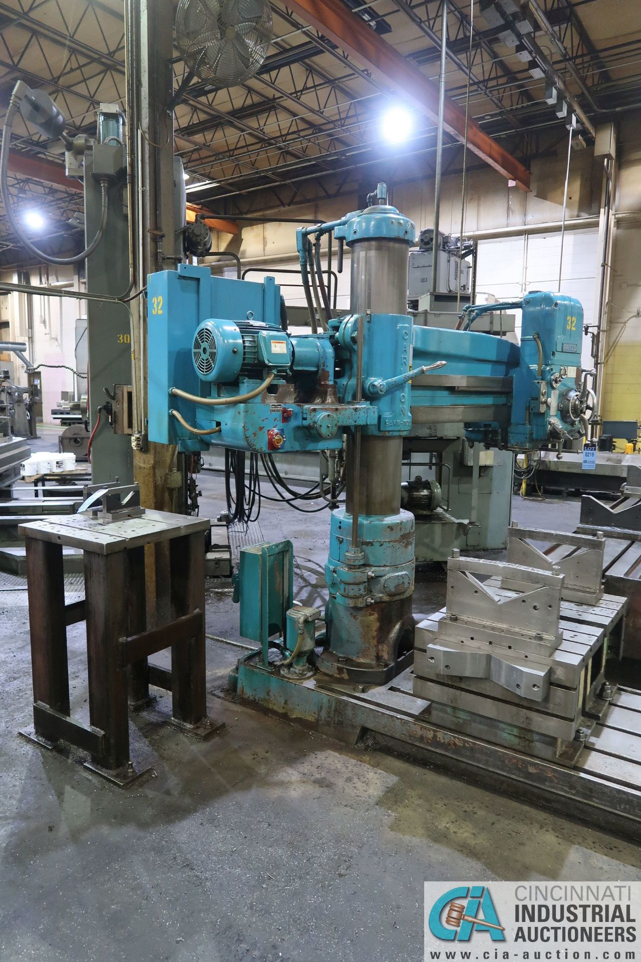 "5' ARM X 11"" COLUMN CARLTON RADIAL ARM DRILL; S/N 4434, WITH (2) 18"" X 28"" X 17"" HIGH T-SLOTTED - Image 2 of 13"