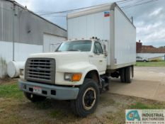 1995 FORD F-800 DUALLY BOX TRUCK; VIN # 1FXF80C55VA35110, 5-SPEED MANUAL TRANSMISSION, 141,632