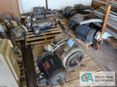 (LOT) (16) SPARE MOTORS TO INCLUDE; (3) 30 HP LINCOLN MOTORS, (2) 30 HP BALDOR MOTORS, (1) 25 HP