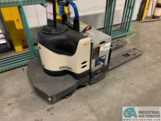 6,000 LB. CROWN MODEL PE-4000-60 RIDER TYPE ELECTRIC PALLET TRUCK; S/N 6A247534, NO KEY *OUT OF