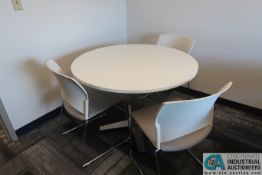 """42"""" DIA. LAMINATE TOP TABLES W/ (5) STACK CHAIRS"""