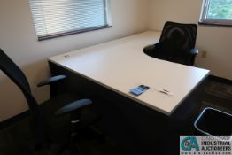 LAMINATED TOP MODULAR OFFICE DESK W/ (2) CHAIRS