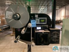 PANTHER MODEL P2000E ELECTRIC AUTO LABELER WITH ZEBRA ZE500 PRINTER ON PORTABLE FLOOR STANDING BASE;