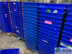 AKRO-MILS PRODUCT NO. 35-195 NEST AND STACK PLASTIC TOTES - (2) SKIDS