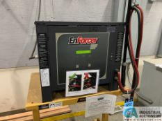 ENERSYS MODEL EH3-18-1200 ENFORCER HF BATTERY CHARGER WITH STAND **LOCATED IN AISLE BEHIND CHARGE