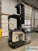 4,500 LB. CROWN MODEL RR5725-45 STAND UP ELECTRIC REACH TRUCK; S/N 1A378778, APPROX. 2,392 HOURS,