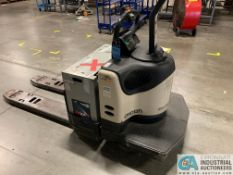 6,000 LB. CROWN MODEL PE-4500-60 RIDER TYPE ELECTRIC PALLET TRUCK; S/N 6A2266154, APPROX. 5,187