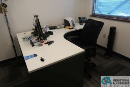 LAMINATED TOP MODULAR OFFICE DESK & CHAIR W/ LATERAL FILE CABINET & COAT RACK *FURNITURE ONLY -
