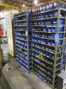 (LOT) LARGE ASSORTMENT MISCELLANEOUS HARDWARE WITH SHELVING
