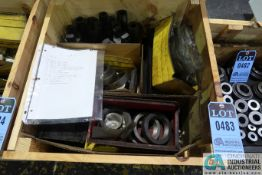 CRATE MISCELLANEOUS DRIVE SHANKS, HEAD BODYS, LOCK RINGS, AND OTHER HONE RELATED ITEMS
