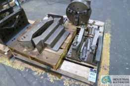 "SKID V-BLOCKS, 15"" THREE-JAW CHUCK AND ANGLE PLATE"