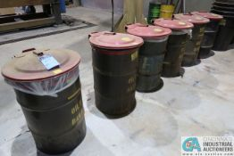 (LOT) (6) OILY RAG DRUM CANS WITH JUSTRITE SAFETY DRUM COVERS