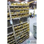 (LOT) HUGE ASSORTMENT TAPS, CENTER DRILLS, CHAMFER TOOLING, AND DRILL INDEX CABINETS WITH SHELVING