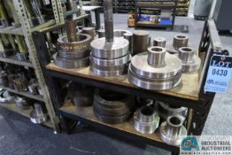 (LOT) MISCELLANEOUS LARGE CAPACITY THREAD GAGES WITH SHELVING