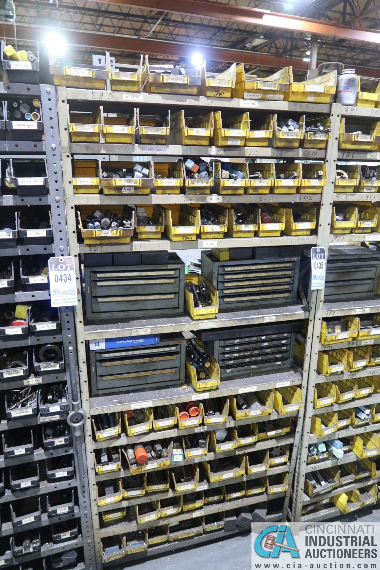 (LOT) HUGE ASSORTMENT TAPS AND DRILL INDEX CABINETS WITH SHELVING