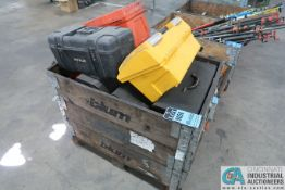 (LOT) WOOD CRATE W/ EMPTY TOOL BOXES