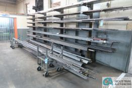 """(LOT) 18"""" ARM CANTILEVER RACK W/ CONTENTS; FLAT STOCK, TUBING, CHANNEL, PIPE, BAR STOCK & BAR"""