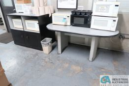 (LOT) 6' TABLE & MICROWAVE STAND
